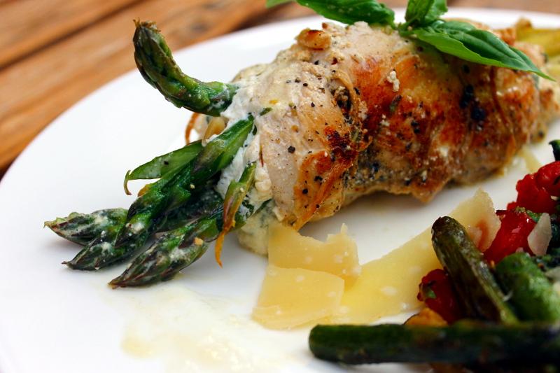 Hühnerbrust mit Spargel-Ziegenkäsefüllung
