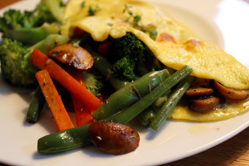 Omelette mit Bohnen-Pilz-Füllung